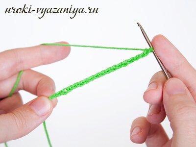 При вязании крючком стянуть все петли