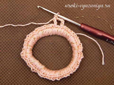 резинка для волос крючком